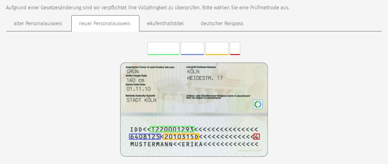Rückseite Personalausweis
