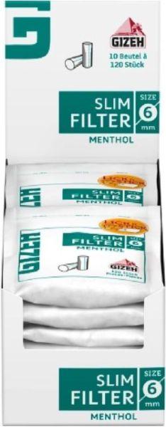 Gizeh Slim Filter Menthol 10 Packs à 120 Tips online kaufen