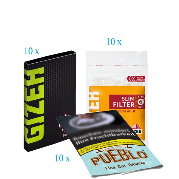 Pueblo Angebot #2 [10 x Pueblo Blue 30g + 10 x Gizeh Slim Filter + 10 x Gizeh Papier Fine mit Magnet]