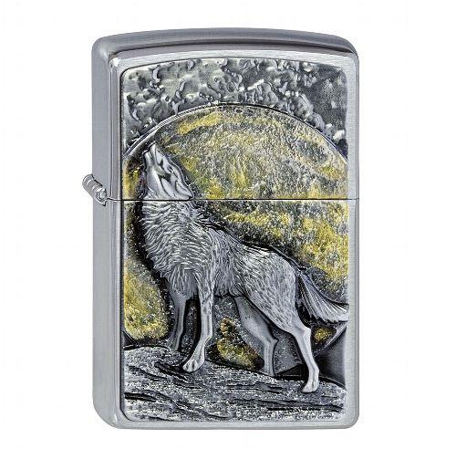 Zippo chrom gebürstet Wolf at Moonlight Emblem 2003038