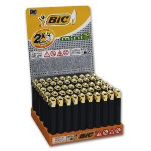 Einwegfeuerzeug Stein BIC Mini schwarz Goldkappe Steller mit 50 Stück online kaufen